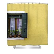 Houses Of Venice - Yellow  Shower Curtain