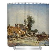Houses On A Waterway Near Crooswijk Shower Curtain
