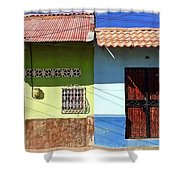 Houses On Street In Leon, Nicaragua Shower Curtain