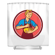 Housewife Cook Bandana Mixing Bowl Circle Retro Shower Curtain