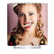 Housewife Doing Cleaning And Pin-up Laundry Chores Shower Curtain
