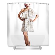 Housewife With Curlers In Hair Shower Curtain
