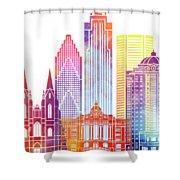 Houston Landmarks Watercolor Poster Shower Curtain