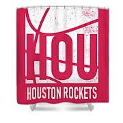Houston Rockets City Poster Art Shower Curtain