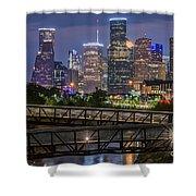 Houston Skyline Over Buffalo Bayou At Twilight Shower Curtain