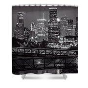 Houston Skyline With Rosemont Bridge In Bw Shower Curtain