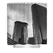 Houston Skyscrapers Black And White Shower Curtain