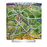 Houston Texas Cartoon Map Shower Curtain