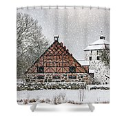 Hovdala Castle Gatehouse And Stables In Winter Shower Curtain