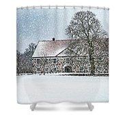 Hovdala Castle Main House In Winter Shower Curtain