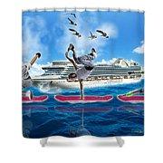 Hoverboarding Across The Atlantic Ocean Shower Curtain