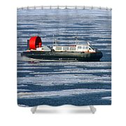 Hovercraft On Frozen Artic Ocean Shower Curtain
