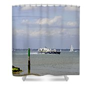 Hovercraft Passing Ryde Harbour Mouth Shower Curtain