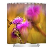 Hoverfly Thistle #g7 Shower Curtain