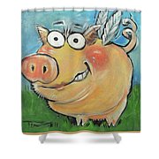 Hovering Pig Shower Curtain