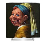 Howdy With A Pearl Earring Shower Curtain