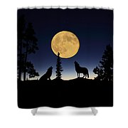Howling At The Moon Shower Curtain by Shane Bechler