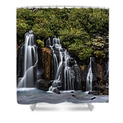 Hraunfossar In The Gloom Shower Curtain