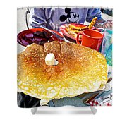 Hub Cap Pancakes At Loulou's On The Commercial Pier In Monterey-california  Shower Curtain