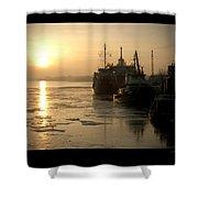 Huddled Boats Shower Curtain