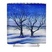 Huddled On A Snowy Field.  Shower Curtain