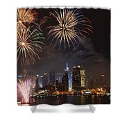 Hudson River Fireworks Iv Shower Curtain by Clarence Holmes