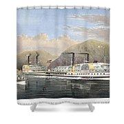 Hudson River Steamships Shower Curtain by Granger