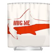 Hug Me Shark Shower Curtain by Pixel Chimp