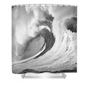 Huge Curling Wave - Bw Shower Curtain