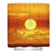 Huge Orange Sun Shower Curtain