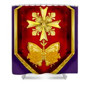 Huguenot Cross And Shield Shower Curtain by Anne Norskog