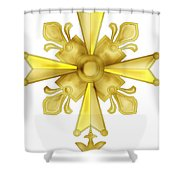 Huguenot Golden Cross Shower Curtain