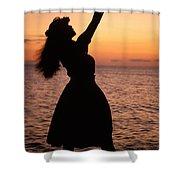 Hula At Sunset Shower Curtain