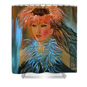 Hula In Turquoise Shower Curtain