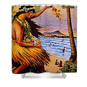 Hula Flower Girl 1915 Shower Curtain