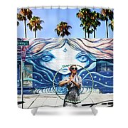 Hula Hoop Woman Shower Curtain