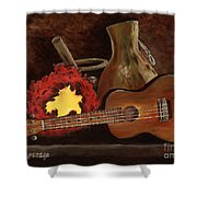 Hula Implements Shower Curtain by Larry Geyrozaga