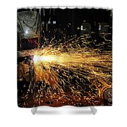 Hull Maintenance Technician Welds Scrap Shower Curtain