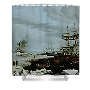 Hull Whalers In The Arctic  Shower Curtain by Thomas A Binks