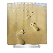 Human Footsteps In The Sand Shower Curtain
