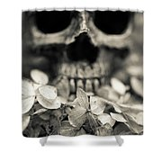 Human Skull Among Flowers Shower Curtain
