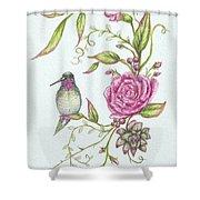 Hummingbird And Rose Shower Curtain