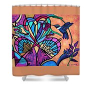 Hummingbird And Stained Glass Hearts Shower Curtain