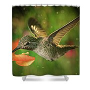Hummingbird And The Monkey Flowers Shower Curtain