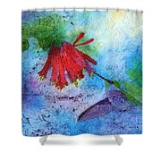 Hummingbird Batik Watercolor Shower Curtain