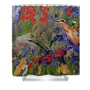 Hummingbirds 2, Abstract Art Shower Curtain