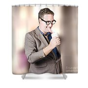 Humorous Businessman Licking Top Of Coffee Cup Shower Curtain
