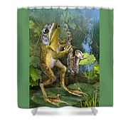 Humorous Frog Plying Saxophone Shower Curtain