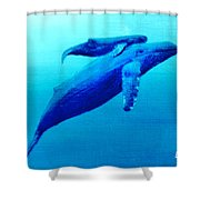 Humpback Mother Whale And Calf  #11 Shower Curtain