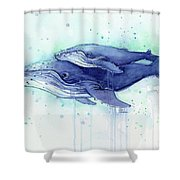 Humpback Whale Mom And Baby Watercolor Shower Curtain
